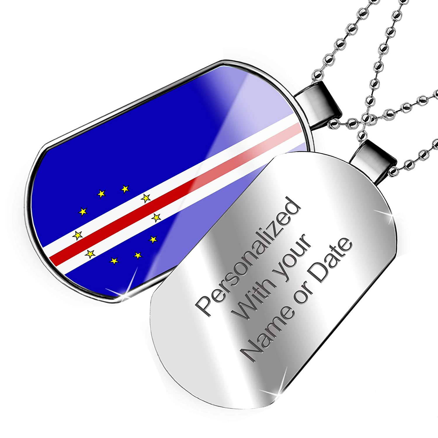 NEONBLOND Personalized Name Engraved Cape Verde Flag Dogtag Necklace