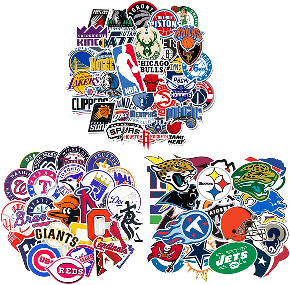 Waterproof Vinyl Stickers Decals Pack 92Pcs - 32 Pcs NFL Football 30 Pcs MLB Baseball 30 Pcs NBA Basketball Teams Logo Sticker for Hydroflasks Laptops Water Bottle Kids Teens Boys Toddlers Adults