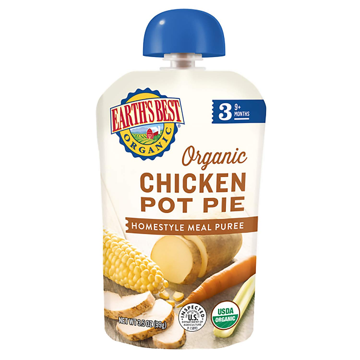 Earth's Best Organic Stage 3 Baby Food, Chicken Pot Pie, 3.5 Oz Pouch (Pack of 6)