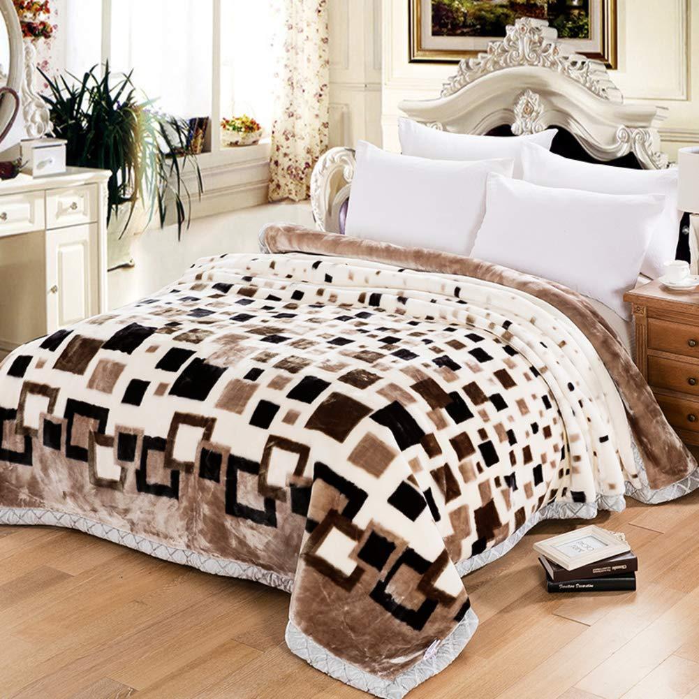 コーラルフリース 毛布, 冬 厚い ダブル ラッセル 毛布キルト, フランネル エアコン毛布, 耐フェード-G 175x215cm(69x85inch) B07HGWVQJN G 175x215cm(69x85inch)