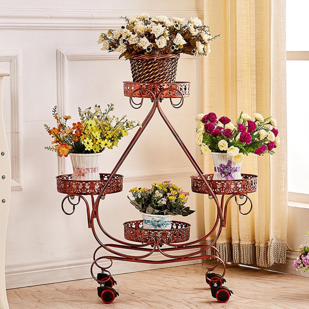 ALUS- Multi - layer movable push - pull flower stand Pulley Floorstanding Flower pot rack Living room flower racks European style Iron ( Color : Red copper ) by CXM-Flower Stand