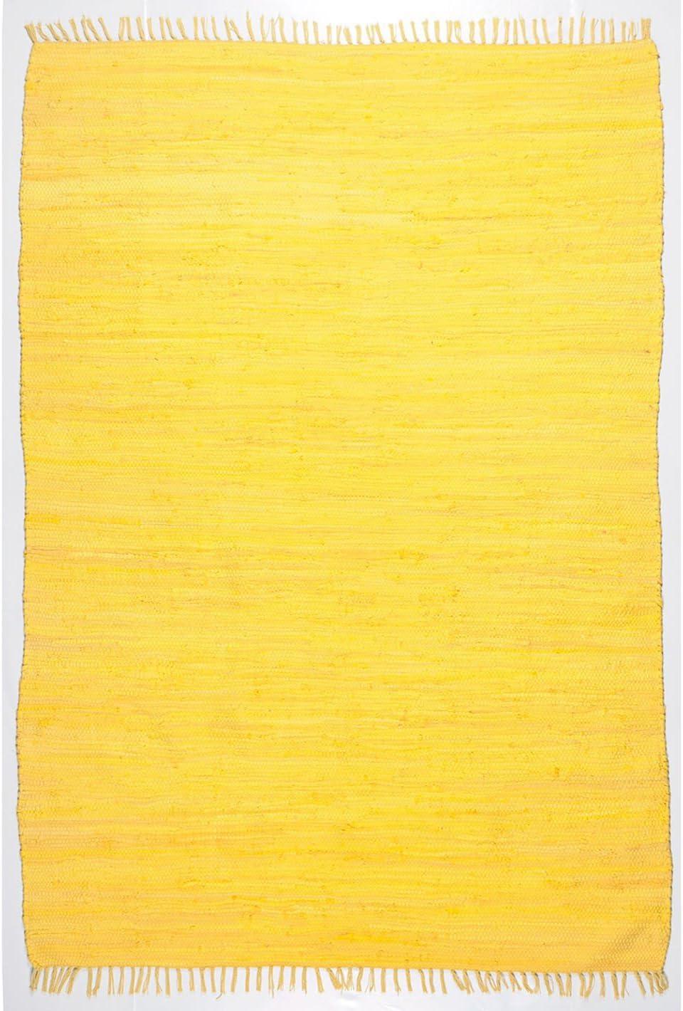 Happy Jaune Coton-Tapis Chemin de couloir-Dimensions 250 x 70 cm 2 2 x 4 m 8 cm