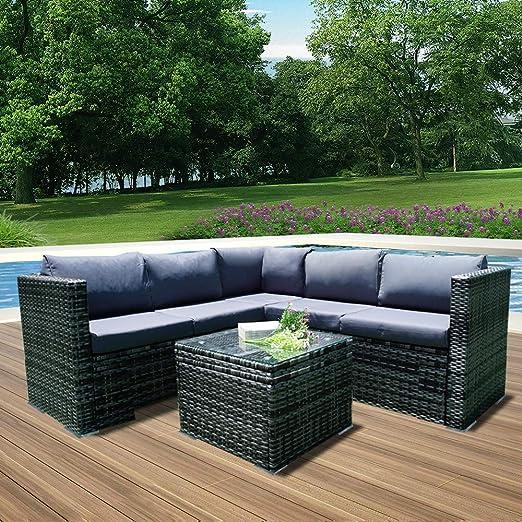 saiwhale - Mueble de jardín, Cojines y Almohadas de Resina Trenzada para salón de jardín, mobiliario de balcón, terraza y Patio, Beige Clair/Gris Mixte: Amazon.es: Jardín
