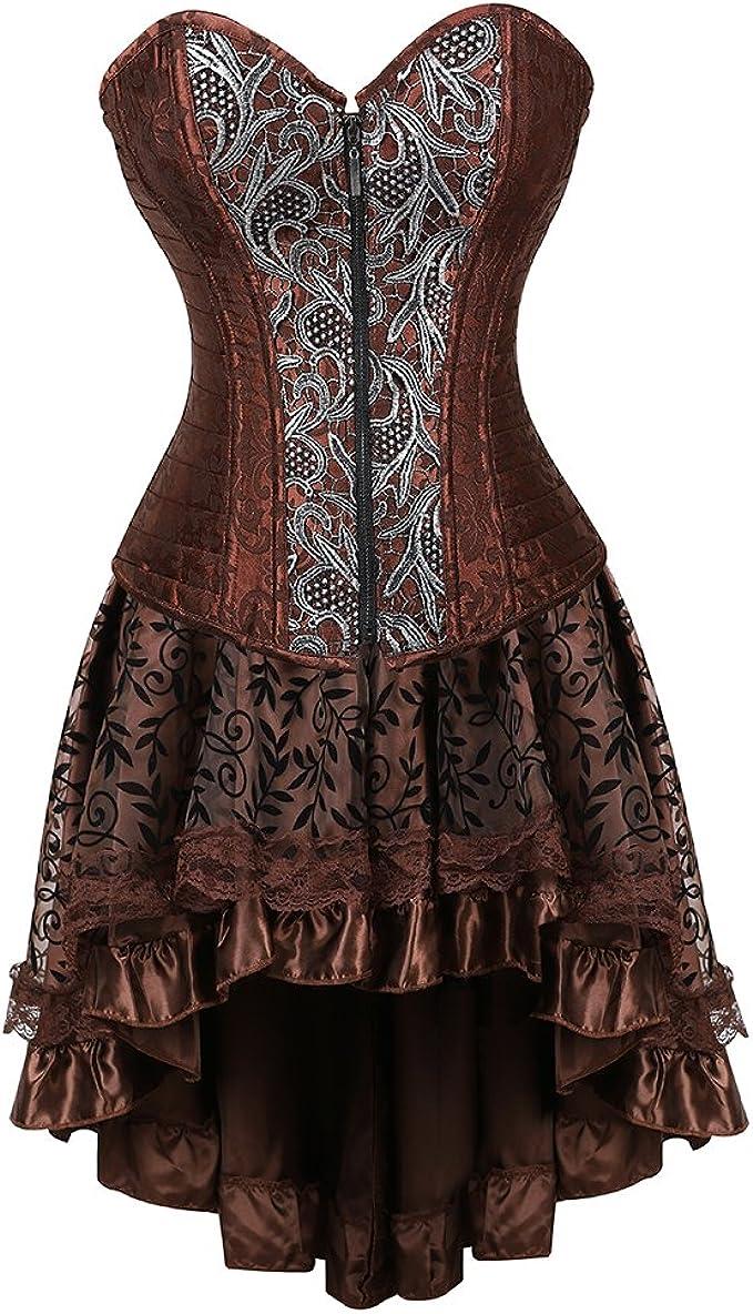Amazon.com: frawirshau - Vestido de corsé para mujer ...