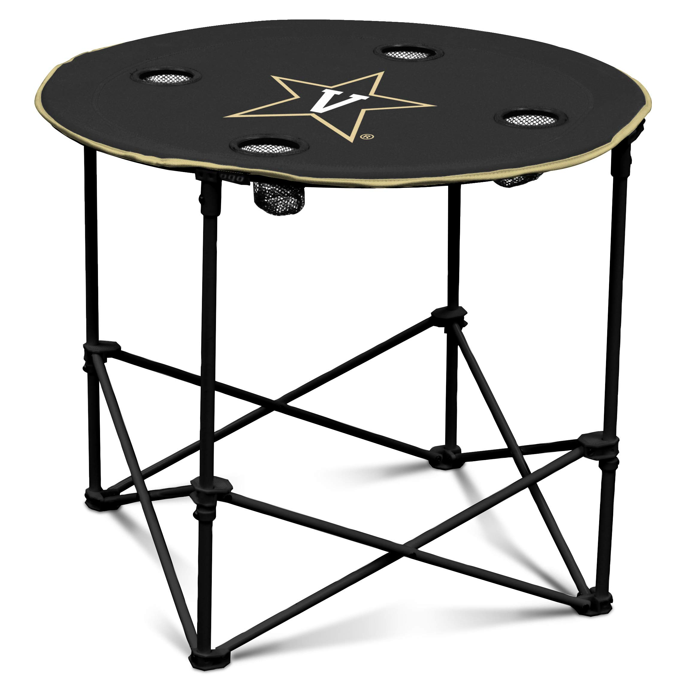 Vanderbilt Commodores Collapsible Round Table with 4 Cup Holders and Carry Bag by Logo Brands