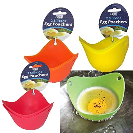 Cookware 4 x Red Egg Poacher Poaching Poach Cup Pods Mould **UK SELLER**