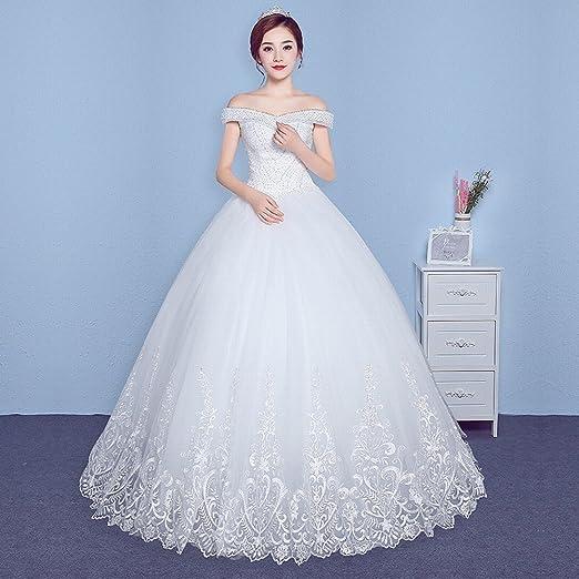 DHG Vestido de Boda de la Cola del Qi de Las Mujeres Embarazadas del Tamaño Grande de la Palabra de la Novia,Blanco,XS: Amazon.es: Hogar