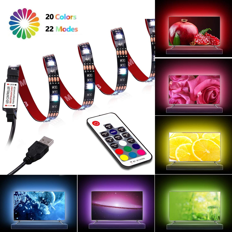 LED Strip Lights - TV Backlight 6.56ft for 40-60in TV - USB Led TV Light Strip with Remote - 22 Colors Changing 5050 LEDs Bias Lighting for HDTV, Computer, Home Decorative Backlight.
