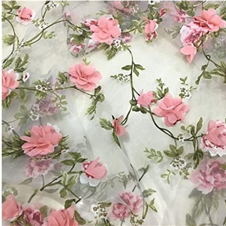 "Amazon.com: Lace Fabric Organza 3D Pink Chiffon Rose Floral Embroidery 55""  Wide by Meter"