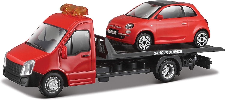 Bburago-18-31404 Grúa con remolque, incluye un coche Fiat 500(2007) (Bburago 18-31402), color rojo , color/modelo surtido