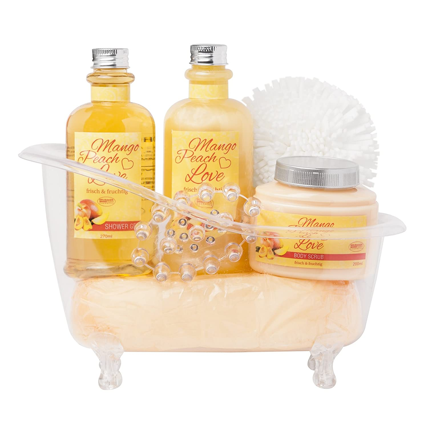 BRUBAKER 6 Pcs Gift Set Mango Peach Love' Beauty Spa Set With Acrylic Bathtub, Bubble Bath, Shower Gel, Body Scrub, Sponge, Acrylic Massage Device