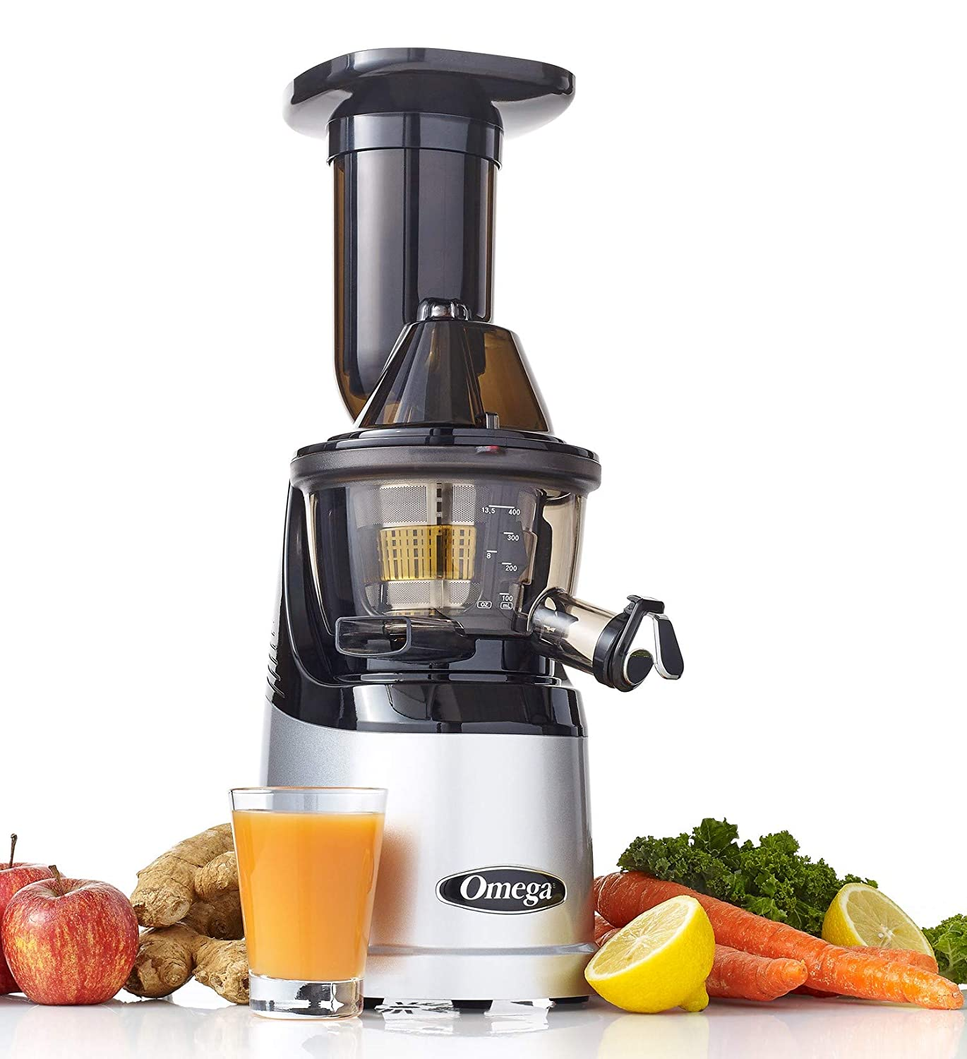 Omega MMV700S MegaMouth Vertical Low Speed Quiet Juicer with Smart Cap Spout Tap, Silver