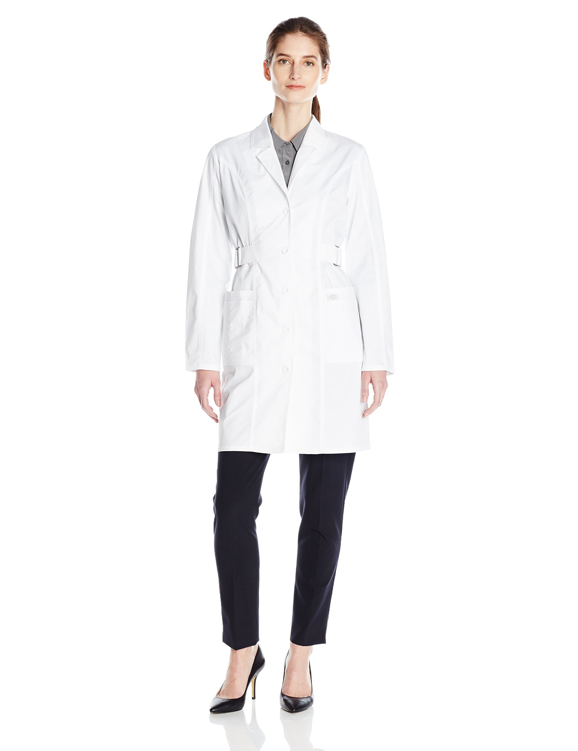Dickies Women's 36 Inch Jr. Fit Lab Coat, White, Large