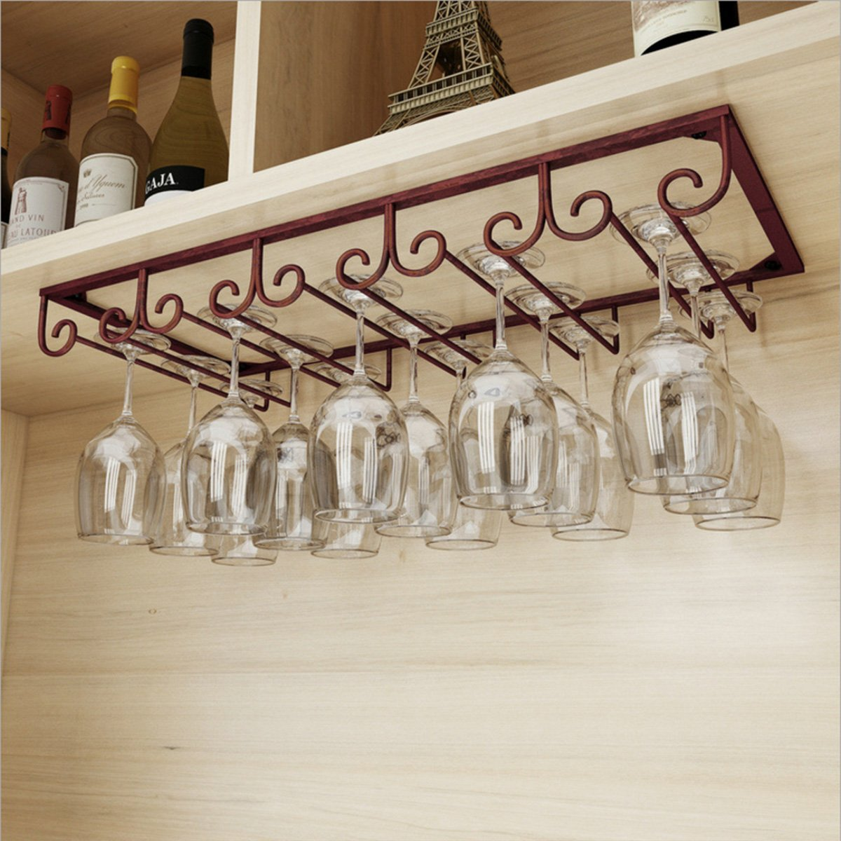 Warm Van Under Cabinet Hanging 5 Slots Iron Wine Glass Rack,Rustic Organizer Storage Rack,Stemware Cup Holder for Home Bar, Holds up to 10-15 Glasses(Bronze)