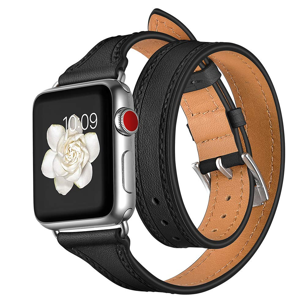 Cywulin Compatible with Apple Watch Band 38mm 40mm 42mm 44mm, Double Tour Leather Replacement Loop Wrist Strap Bracelet for iWatch Series 4 3 2 1 Men Women Stainless Steel Clasp (42mm/44mm, Black)