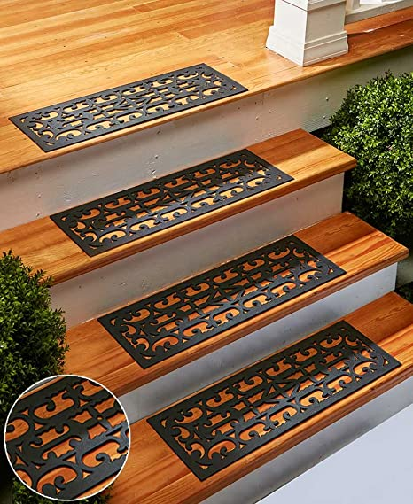 The Lakeside Collection Set Of 4 Stair Mats Scroll