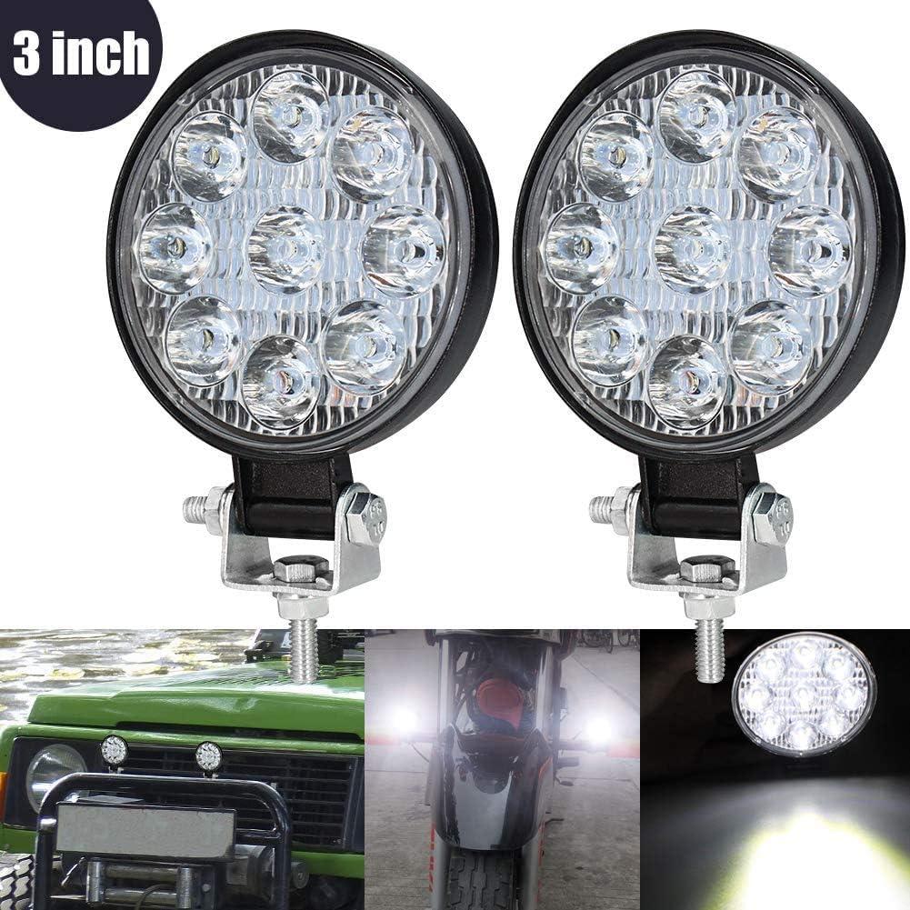 3 Inch Mini Foco Led Tractor,27W Focos de Coche LED Potentes 12V 24V Faros Trabajo LED Adicionales Coche Luz de Niebla luz Auxiliar Moto 1800LM para Moto Offroad Tractor SUV Camión Barco 2pcs