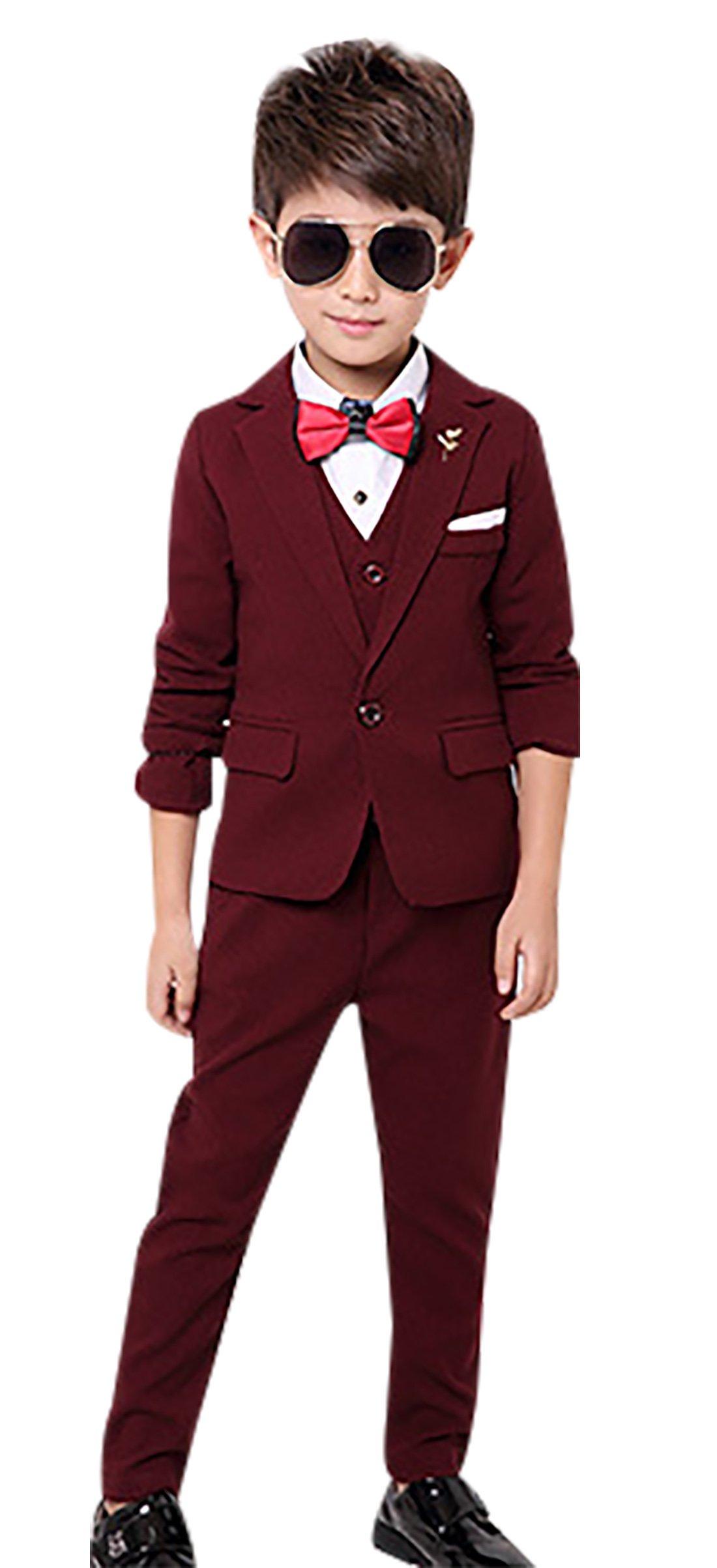 Boys Modern Dress Suit Plaid 3 PCS Formal Wedding Dress Suit Set Single Breasted Tux Suits Set Red Wine 7-8Y