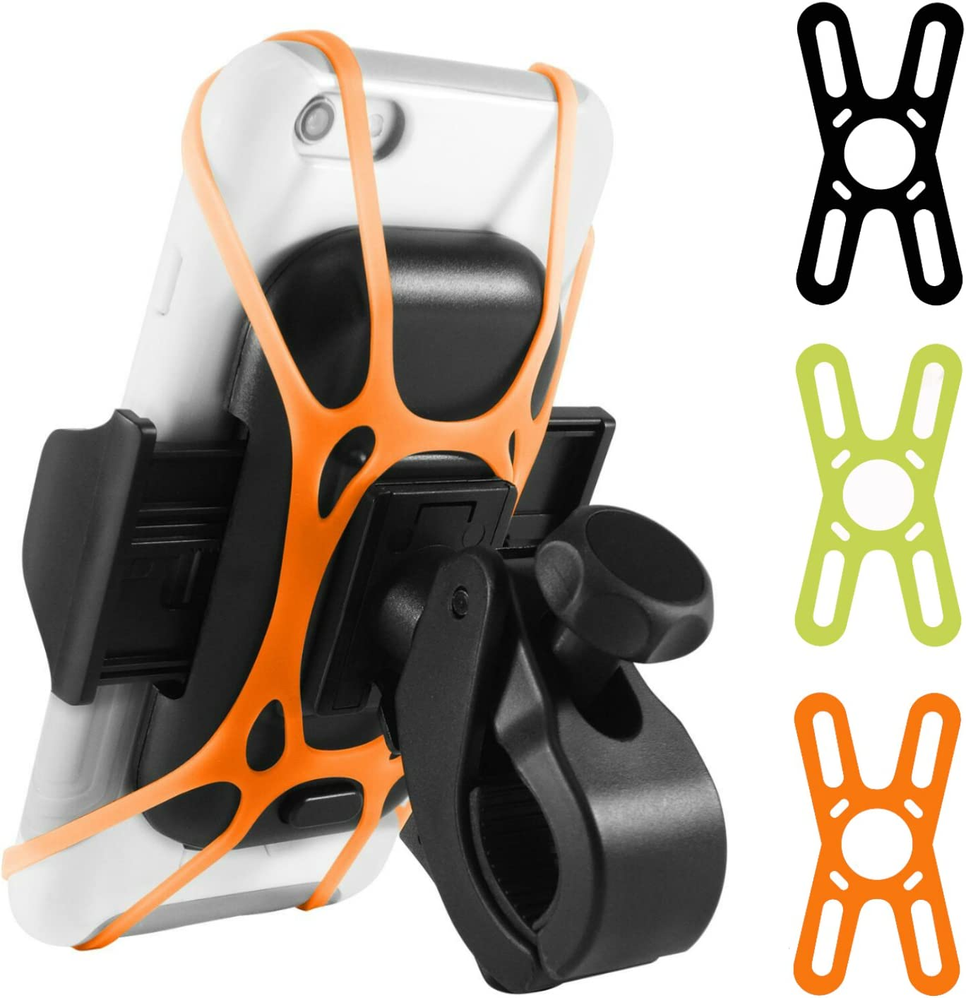 Macally Cell Phone Holder for Bike - Strong Handlebar Clamp with Silicone Straps - Great for Bumpy Roads and High Speeds - 360° Rotatable Bicycle Phone Holder - Universal Fit Phone Mount for Bicycle
