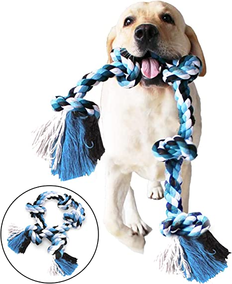 TwoEar Dog Rope Toys for Aggressive Chewers Tough 3 Feet 5 Knots Dog Chew Toys Natural Cotton Indestructible Heavy Duty Dog Toy for Medium and Large Dog Breed