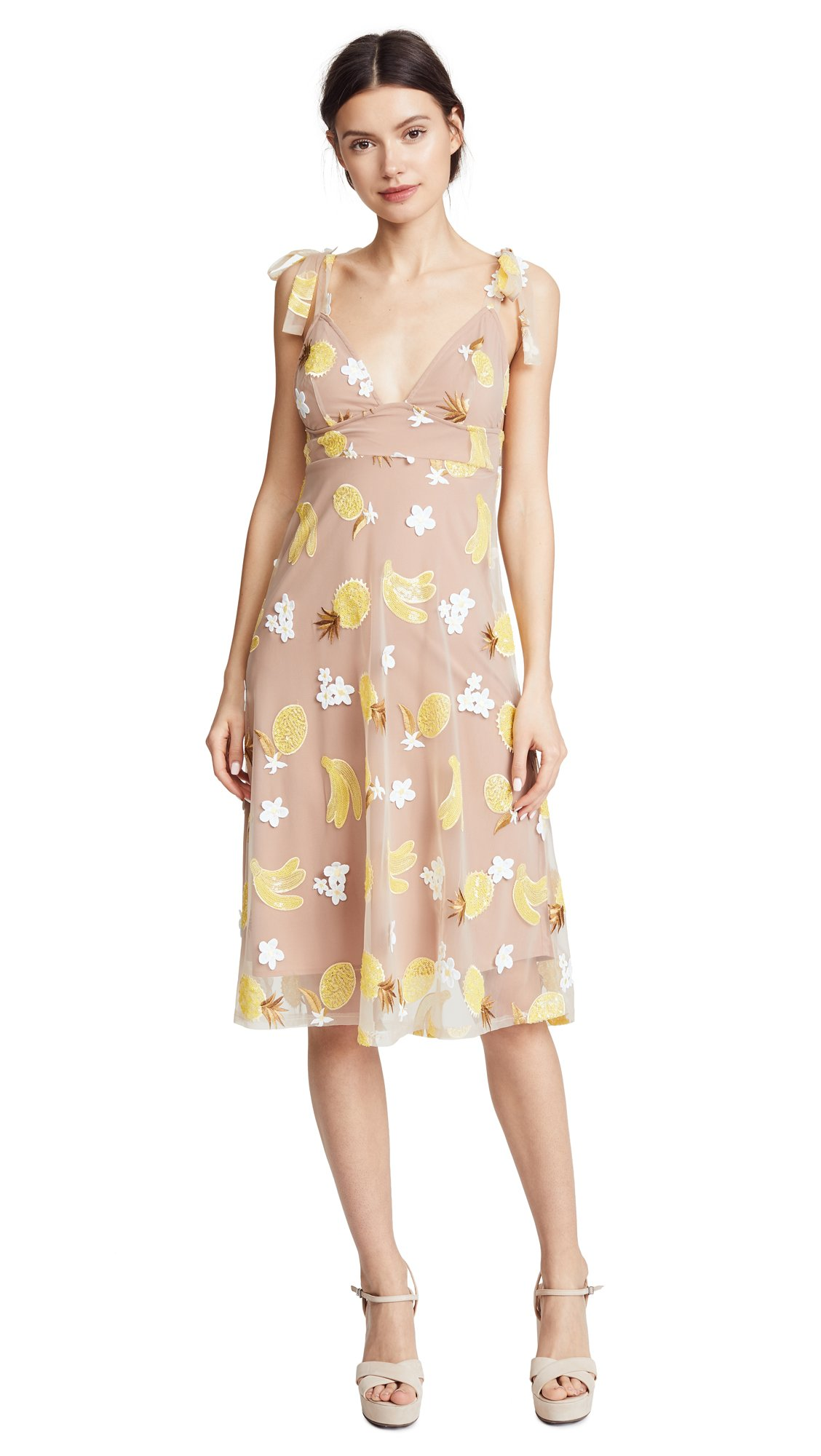 For Love & Lemons Women's Fruitpunch Sequin Midi Dress, Pineapple, Small