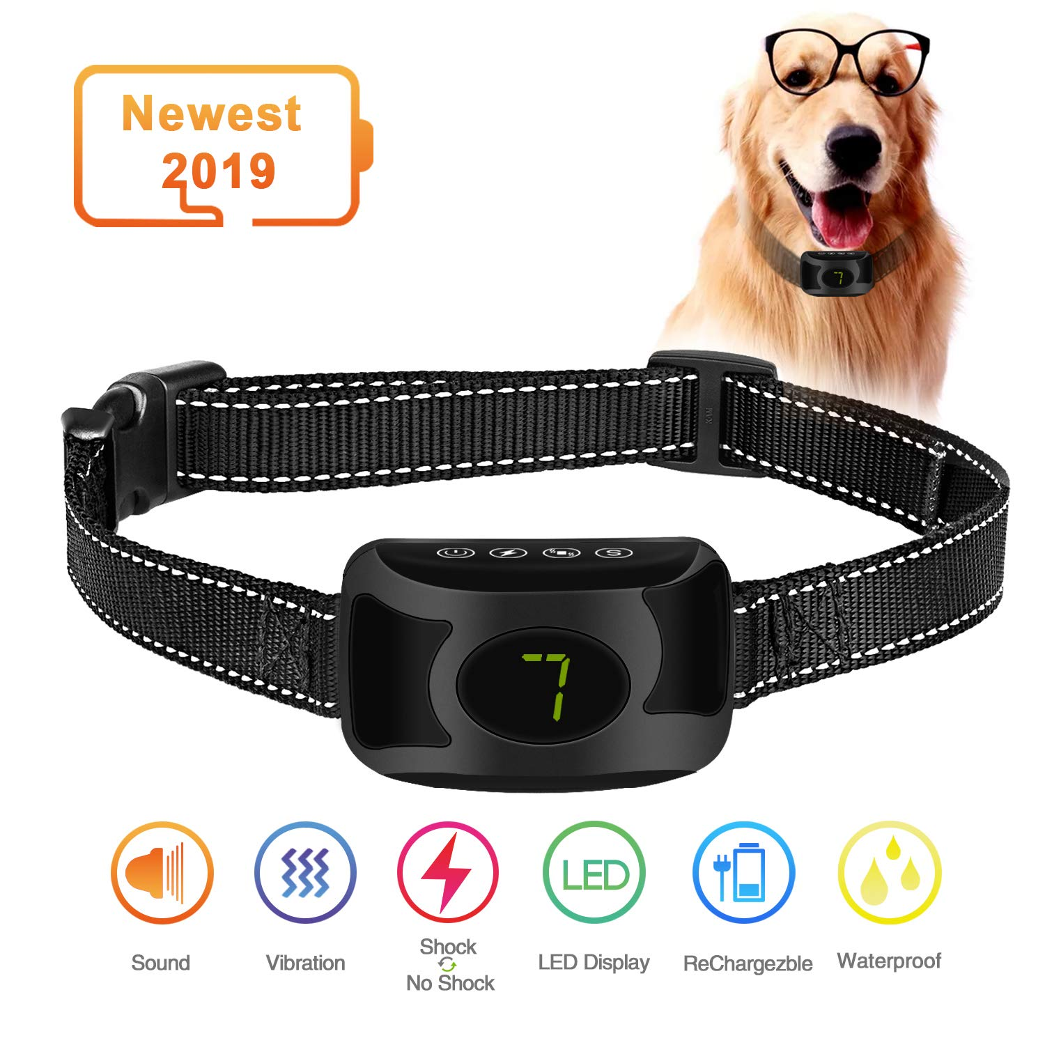 Smiler+ 2019 New Bark Collar, Dog No Bark Training Collar with Beep Vibration and Harmless Shock with 4 Adjustable Levels, Waterproof Rechargeable Anti Bark Device for Small,Medium,Large Dogs