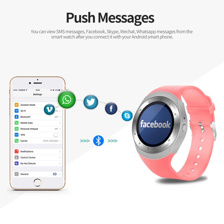 SEPVER Reloj Inteligente Smartwatch para iOS iPhone y Android Hombres Mujeres (Rosa)