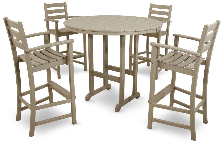 Trex Outdoor Furniture TXS119-1-SC Monterey Bay 5-Piece Bar Set, Sand Castle