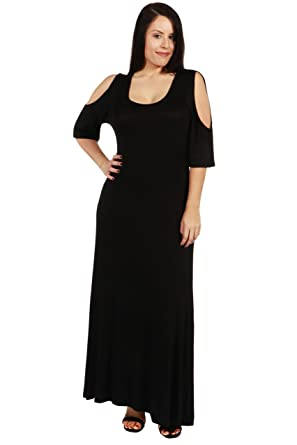 a95aa922c69 24 7 Comfort Apparel Plus Size Dresses Meg Plus Size Cold Shoulder Maxi  Dress for Womens -  Made in USA  at Amazon Women s Clothing store
