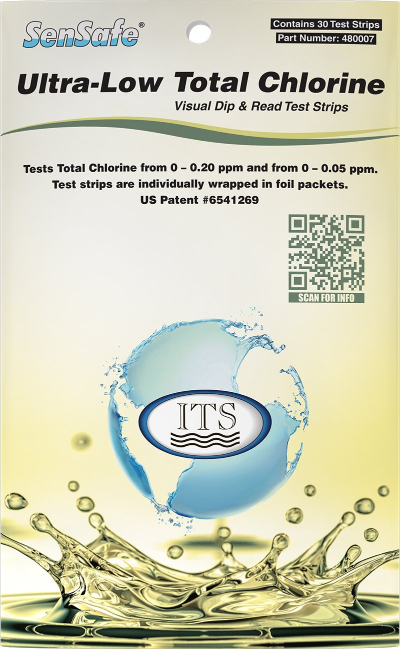 Industrial Test Systems SenSafe 480007 Total Chlorine Test Strip, Ultra Low Range, 40 Seconds Test Time, 0-0.2mg/L Range (Pack of 30)
