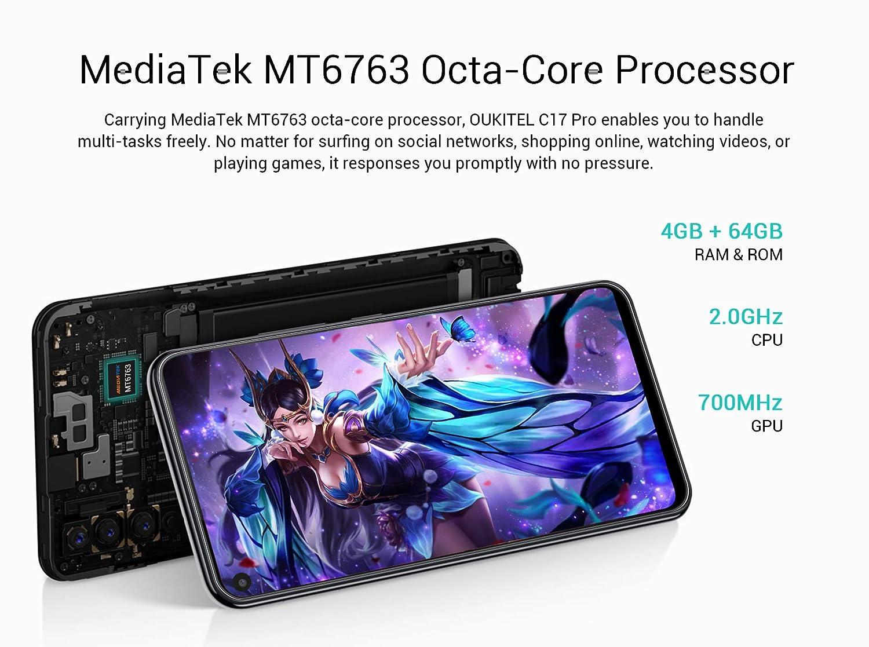 OUKITEL C17 Pro 4G Móviles(2019) Android 9.0 - Pantalla Completa de 6.35 Pulgadas de Agujero Ciego,4GB+64GB,Helio P23 Octa Core Dual SIM Teléfono, ...