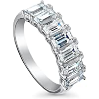 BERRICLE Rhodium Plated Sterling Silver 7-Stone Half Eternity Ring Set w/Swarovski Zirconia Emerald Cut
