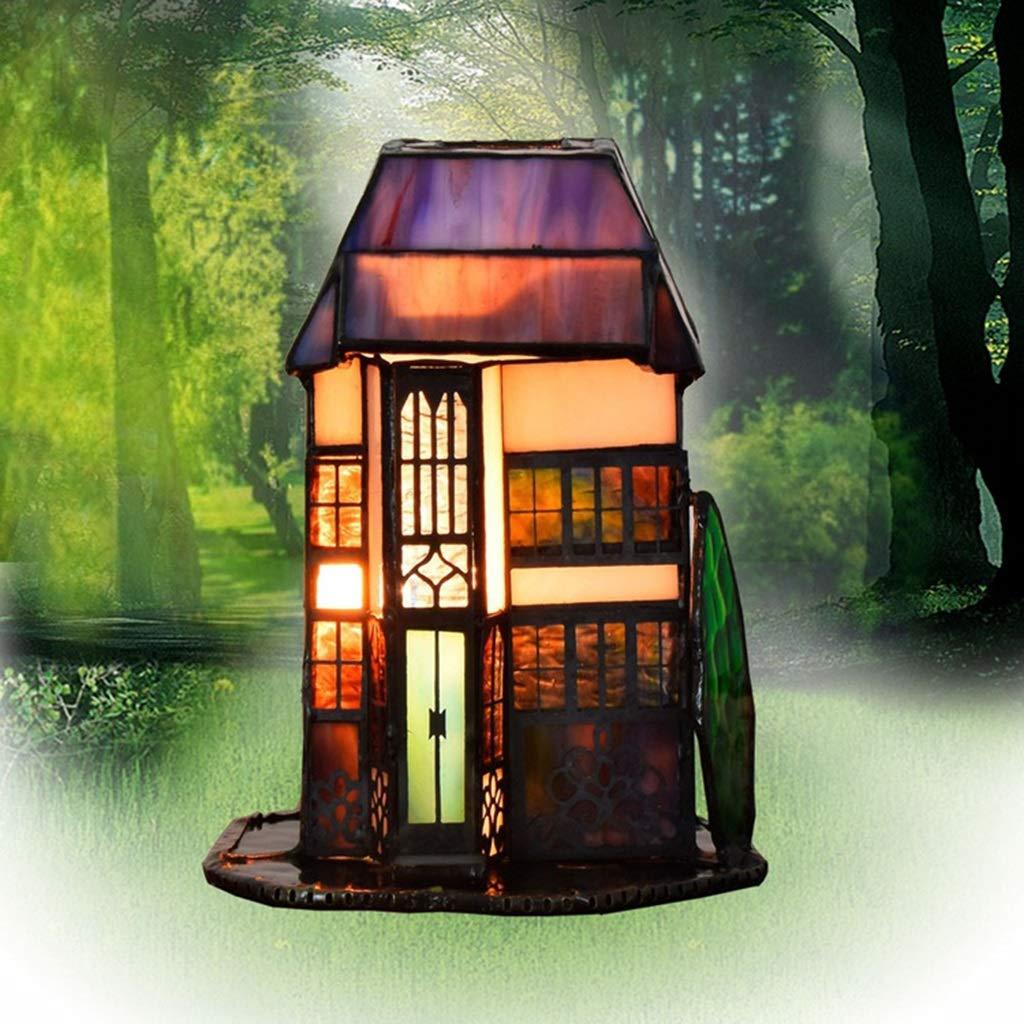 RXY-LAMP Art Glass Small House Lamp Bar Restaurant Bedroom Hotel Bedside Night Light Retro Villa Lamp (Color : A, Size : 13x11x16cm)