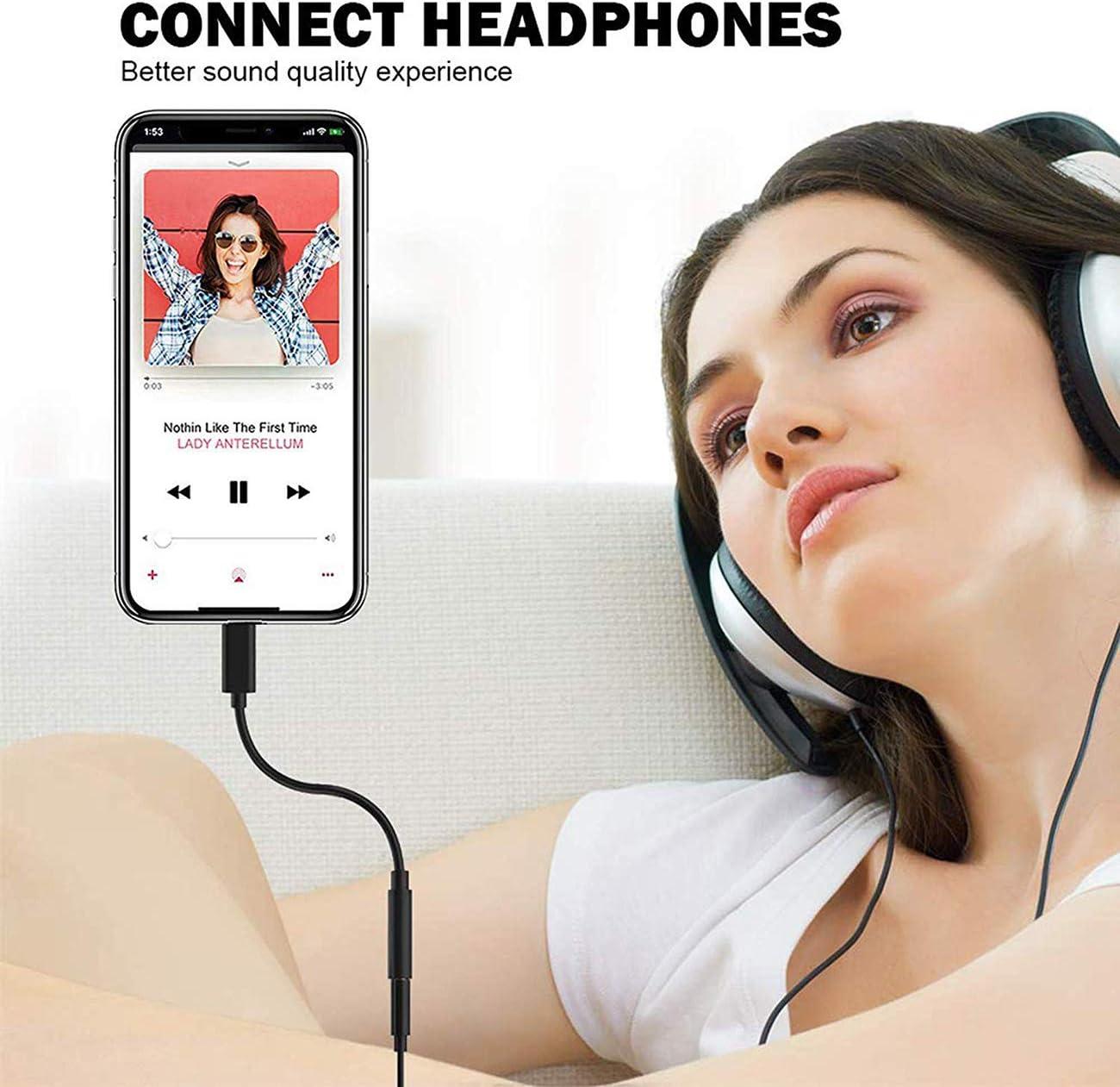 Adattatore Jack per Cuffie per iPhone 8 Adattatore 3,5 mm Aux Audio Stereo Cuffie Splitter per iPhone 11//11 PRO//X//XS//XS MAX//XR//7//7Plus//8//8Plus Connettore per Cuffie Supporto Tutto iOS