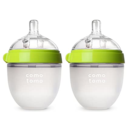 Comotomo Baby Bottle, Green, 5 Ounce, 2 Count by Comotomo