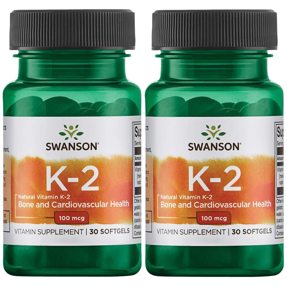 Swanson Vitamin K-2 - Natural 100 mcg 30 Sgels 2 Pack
