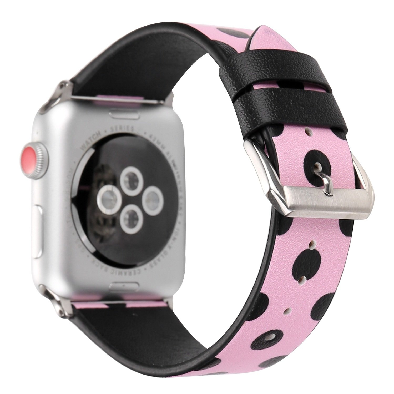 Juzzhou Band For Apple Watch iWatch Series 3/2/1 Sport Edition Leather Replacement Bracelet Wristband Wriststrap Watchband Wrist Strap With Metal Adapter Adjustable Buckle For Woman Girl Pink 38mm by Juzzhou (Image #1)