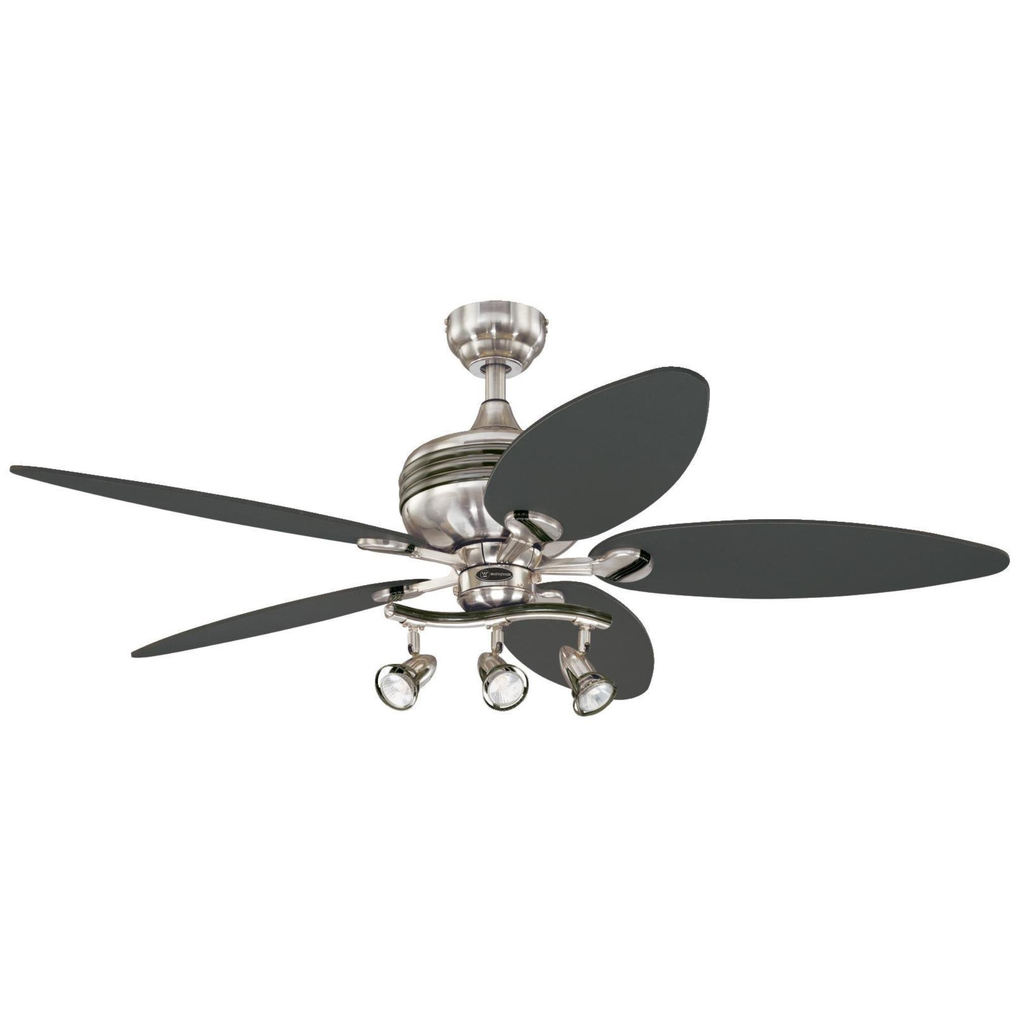 Westinghouse 7234220 Xavier II 52-Inch Five-Blade Indoor Ceiling Fan with Three Spot Lights, Brushed Nickel with Gun Metal Accents by Westinghouse