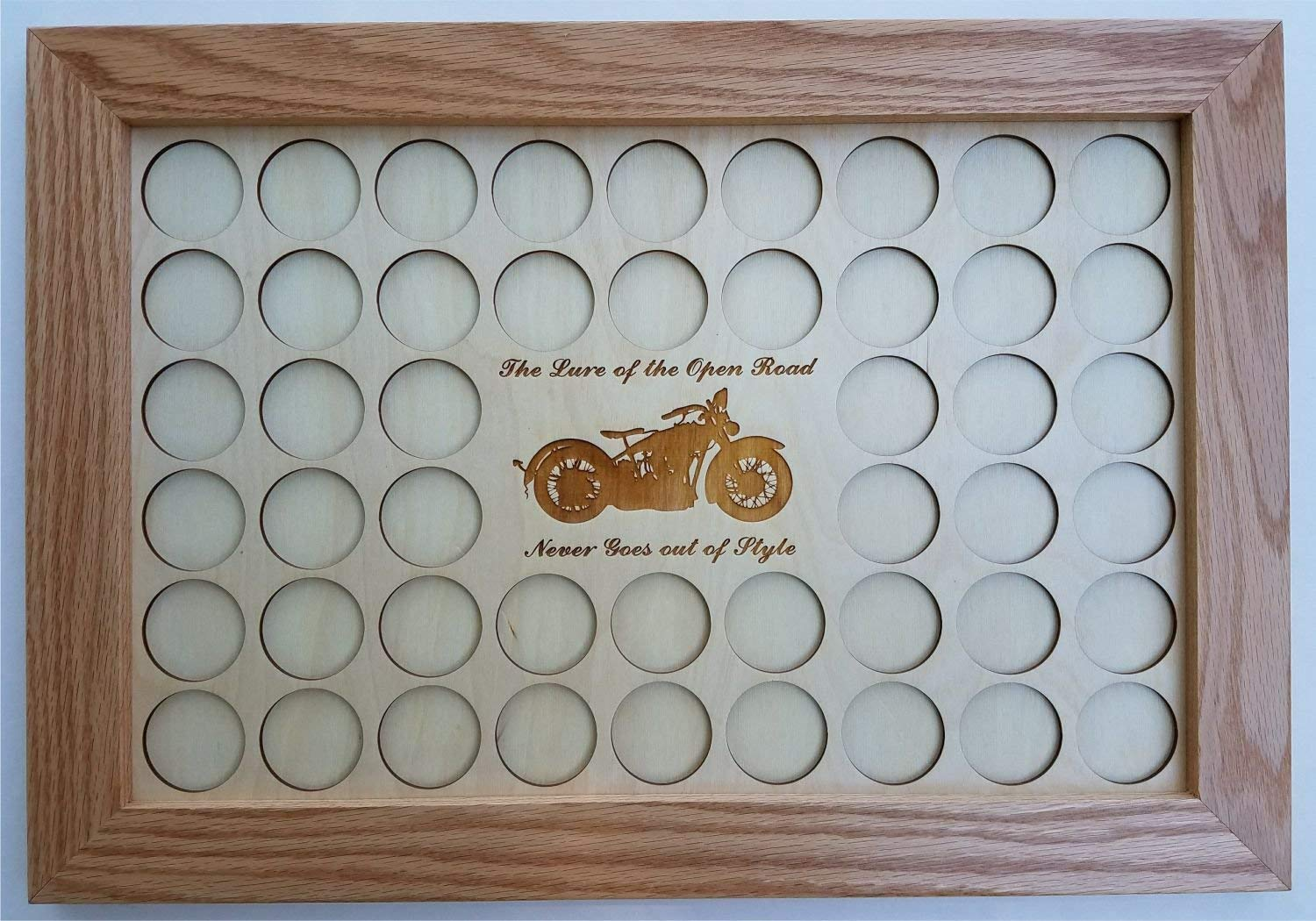 Natural Wood 11x17The Lure of The Open Road Never Goes Out of Style Motorcycle Poker Chip Display Case with Oak Frame and Birch Mat