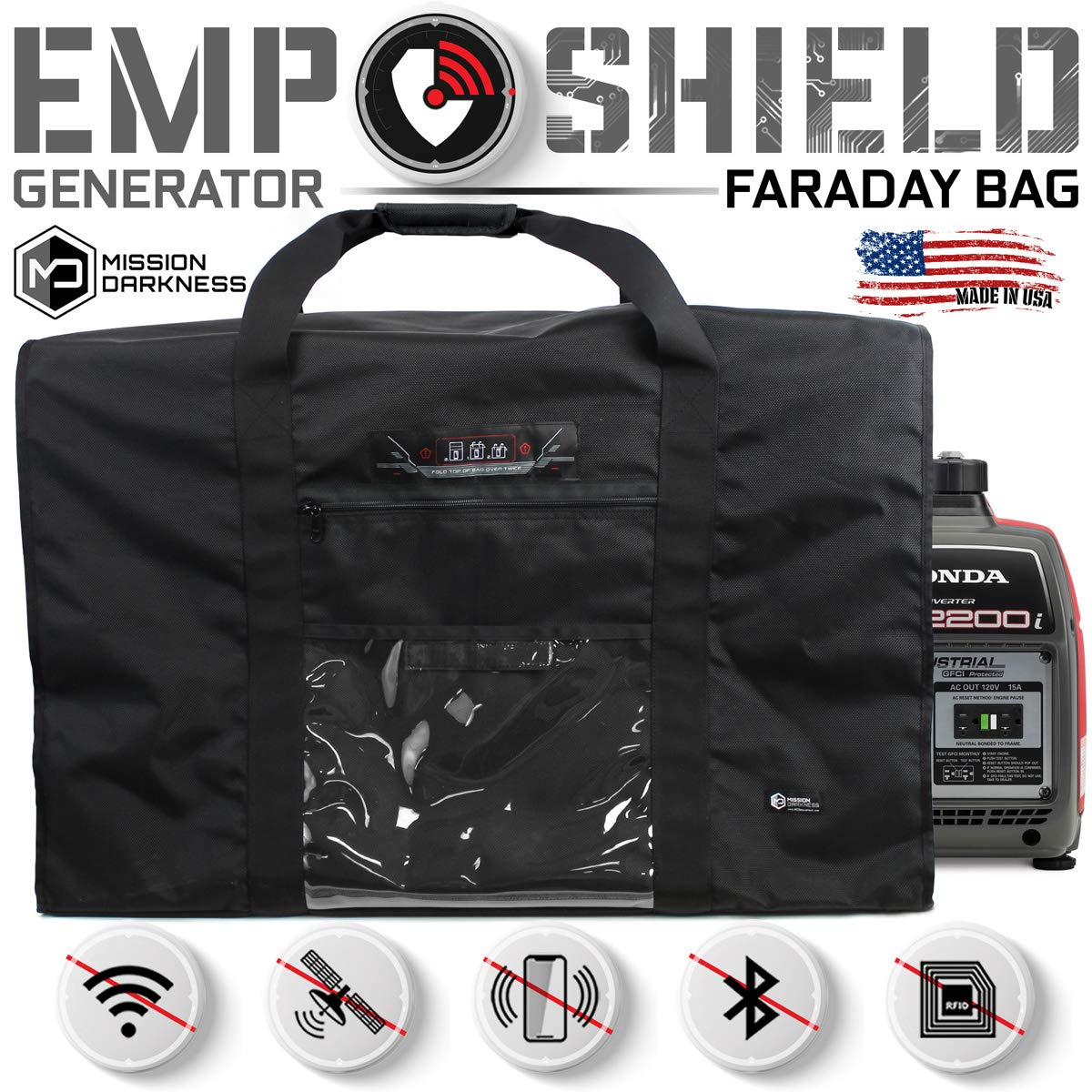 Mission Darkness Revelation EMP Shield for Generators and Extra-Large Electronics. Military-Grade Faraday Bag Designed for EMP/CME Protection, Forensic Investigators, preppers, and Personal Security by Mission Darkness