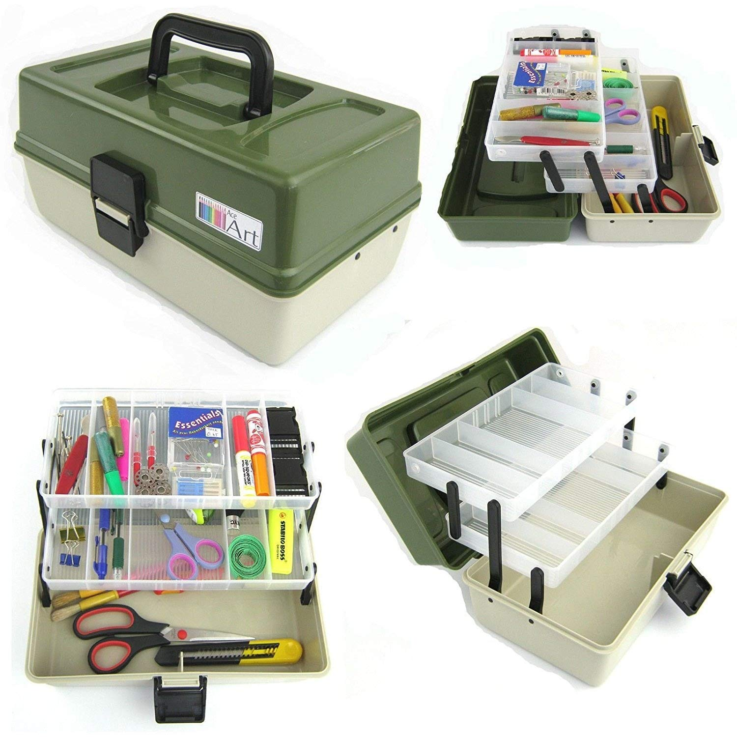 Ace Arts 2 Tray Craft Cantilever Box Sewing Embellishment Beads Paints Art Artist Box Silver Bullet Trading Ltd