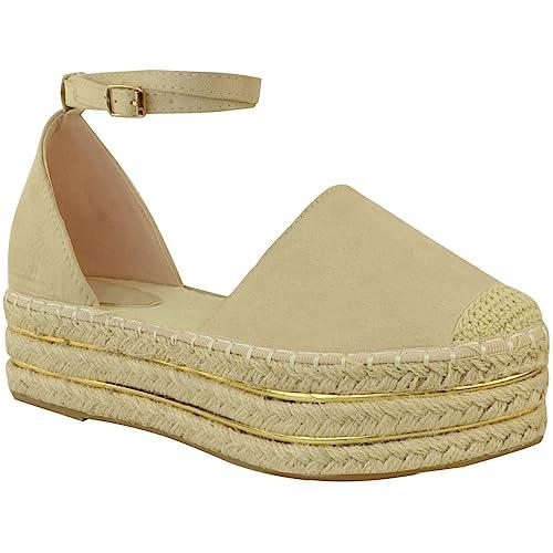 Fashion Thirsty heelberry Mujer Cuña Baja Alpargatas Sandalias Plataforma Oro Rosa Zapatos Verano Números: Amazon.es: Zapatos y complementos