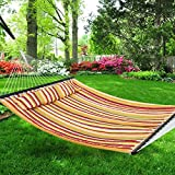 Nova Microdermabrasion Hammock Quilted Fabric with Pillow Double Size Spreader Bar Heavy Duty Portable Outdoor Camping Hammock For Outdoor Patio Yard ?450lbs Capacity?