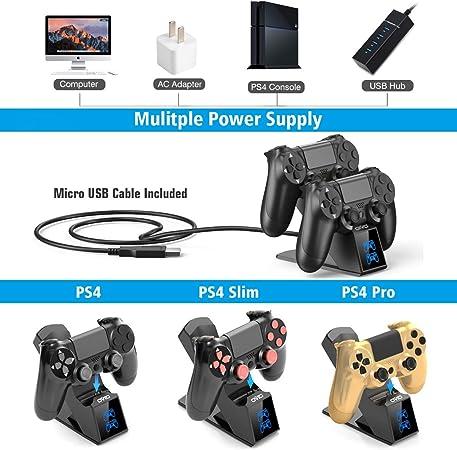 SOONHUA Chargeur de Contr/ôleur PS4 Station de Charge LED Double Chargeur USB pour Contr/ôleur Sony PS4 Playstation4