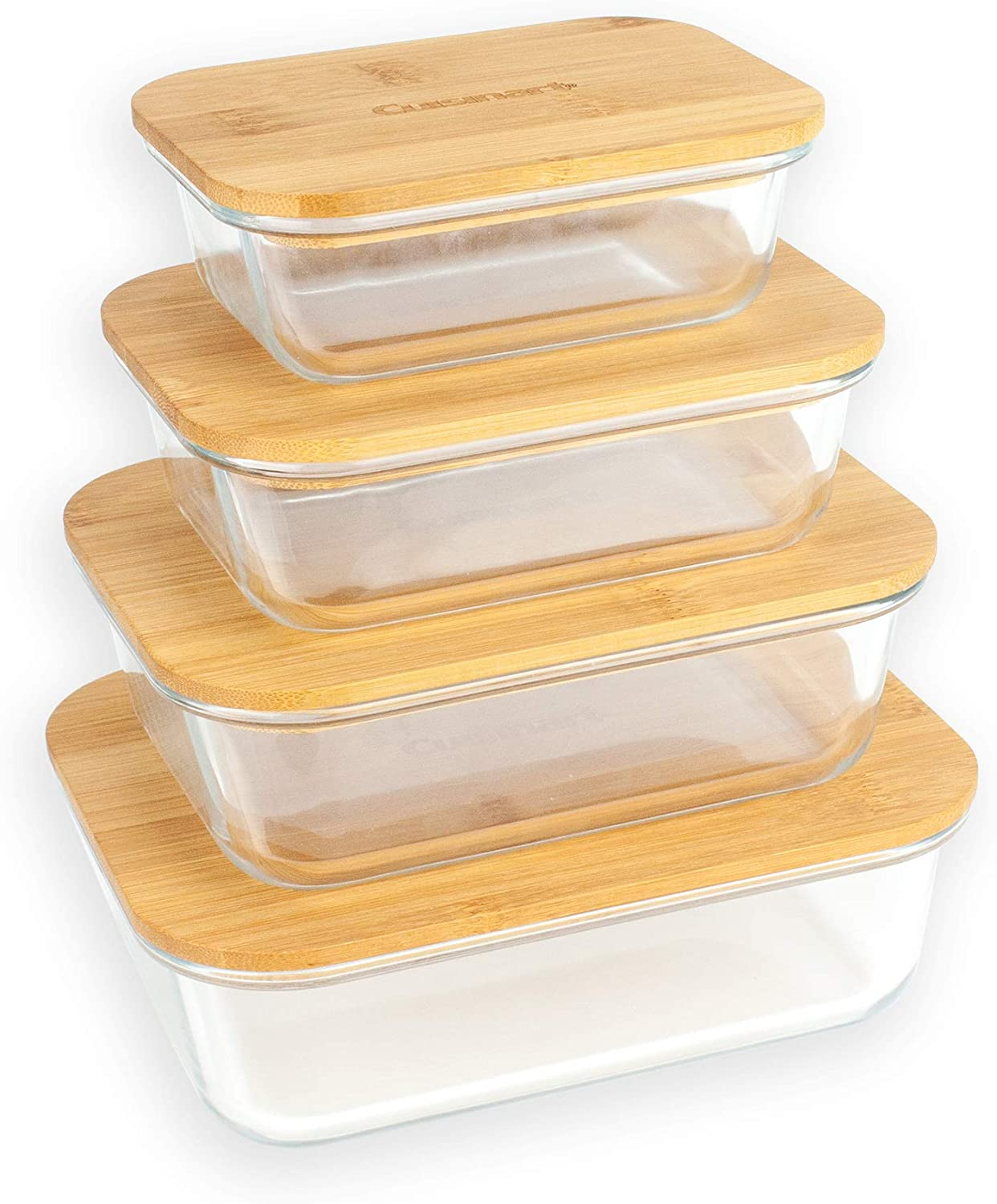 Cuisinart Glass Containers with Bamboo Lids - 8 Piece Rectangle Glass Food Storage Containers with Lids Set - Food Containers Keep Food Fresh, Perfect for Meal Prep and Kitchen Storage Organization