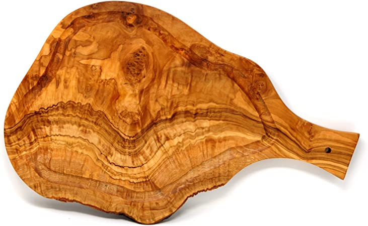 2 x Olive Wood Wooden Cutting Board Fingerboard Herbs Board Handle Bread Time Board
