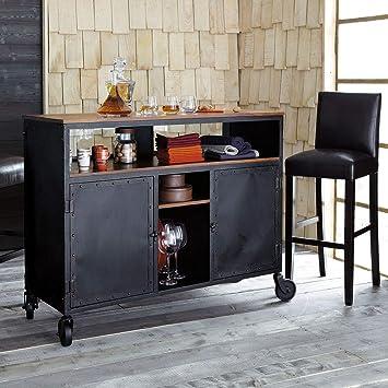 Aprodz Mango Wood Conder Wine Storage Stylish Bar Cabinet for Living Room | Black Finish