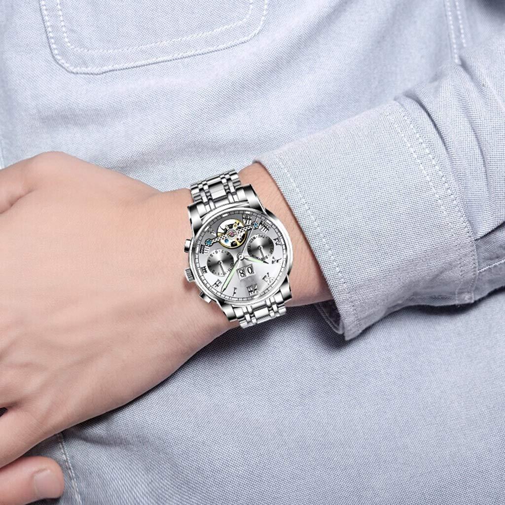 Wyx Mekanisk klocka för män, vattentät mode affärer rostfritt stål ihåligt lysande rörelse (silver) WTR a