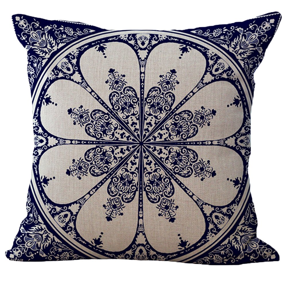 Bigood Chinese Blue and White Porcelain Pillow Case Pillow Cover Throw Cushion Case 45x45CM #B 8AA016B*1$aa
