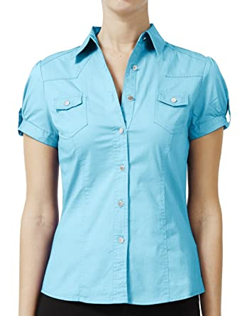 380dc85d NE PEOPLE Women Short Sleeve Western Button Down Shirt at Amazon ...